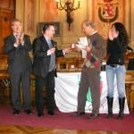 Gianni con l'assessore provinciale alle Politiche Giovanili, il seegretario Coni Bianzale e l'assessore allo sport di Abano Bonato